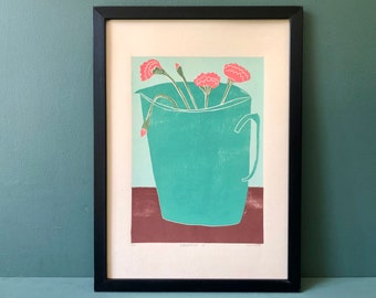 Original Art - Still Life - Coloured Linocut Print - Hand Printed - Wall Art - Block Print - Flowers - Carnations