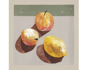 Apples and Lemon - Still Life - Coloured Lino Print - Hand Printed - Wall Art - Block Print - Plant Print - Digital Print