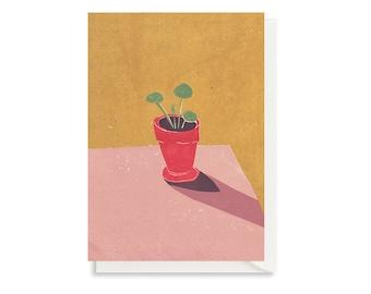 Art Card - Greeting Card - Still Life - Birthday Card - Houseplant - Plant - Baby Pilea