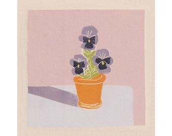 Pansies - Flowers - Plant - Art Print -Coloured Lino Print - Hand Printed - Wall Art - Block Print - Digital Print