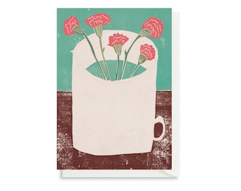 Art Card - Greeting Card - Still Life - Birthday Card - Jug- Carnations - Flowers - Floral