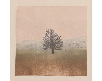 Tree - Fog - Landscape - Countryside - Art Print -Coloured Lino Print - Hand Printed - Wall Art - Block Print - Digital Print