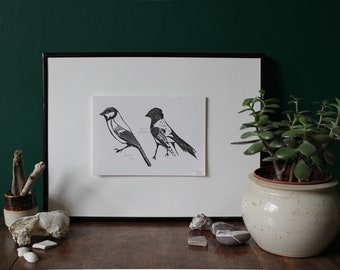 Great Tit, Willy Wagtail Original Linocut Print