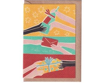 Christmas Card - Giving and Receiving - Christmas Card - Handprinted Card - Art Card - Greeting Card  - Holidays Card - Love