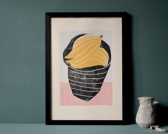 Original Art - Still Life - Coloured Linocut Print - Hand Printed - Wall Art - Block Print - Plant Print - Fruit - Bananas