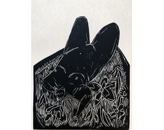 Original Art - Dreamer - Portrait - Black Lino Print - Hand Printed - Wall Art - Block Print - Female Nude Print- Woman Print