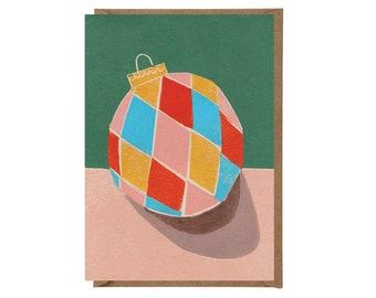 Christmas Card - Handprinted Card - Art Card - Greeting Card - Still Life - Holidays Card - Vintage Bauble