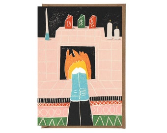 Christmas Card - Handprinted Card - Art Card - Greeting Card - Still Life - Holidays Card - Warm Feet - Fireplace