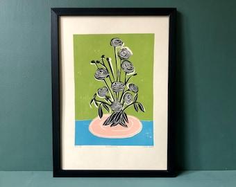 Original Art - Still Life - Coloured Linocut Print - Hand Printed - Wall Art - Block Print  - Flowers