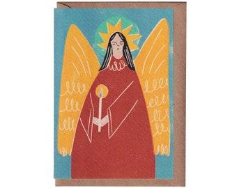 Christmas Card - Christmas Angel Card - Handprinted Card - Art Card - Greeting Card  - Holidays Card - Love