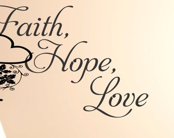 More colors. Faith Hope Love with heart and Vines Wall Decal ...  sc 1 st  Etsy & Faith wall decal | Etsy