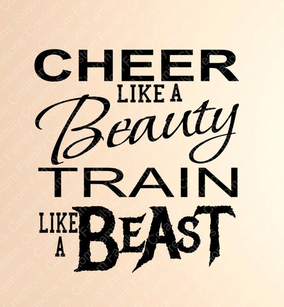 Cheer Like A Beauty Train Like A Beast Vinyl Wall Decal