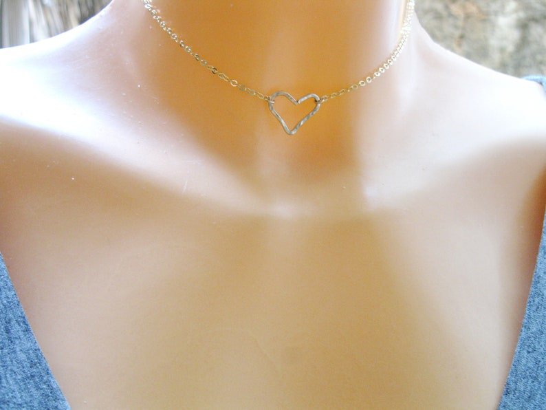a67be400c1dc9 Open Heart Choker Necklace, Gold Filled Necklace, Heart Collar Necklace,  Heart Choker Necklace, Mother Gift, Valentine's Day,