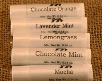 Lip Balm - Two Tubes - Lavender Mint - Chocolate Orange - Mocha - Chocolate Mint - Lemongrass