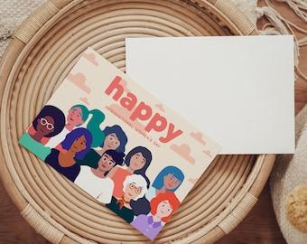 PRINTABLE International Women's Day Postcard - Direct Download - Group of Women