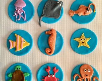 12 Fondant Sea Creature cupcake toppers
