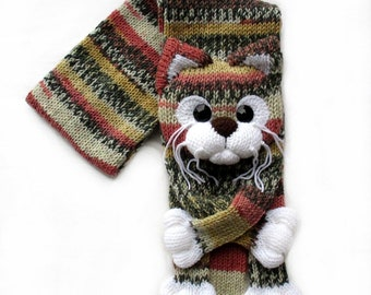 Knitted Cat Scarf Etsy