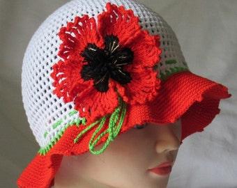 Crochet poppy hat,Crochet hat with poppy flower,Crochet white hat,Crochet summer hat