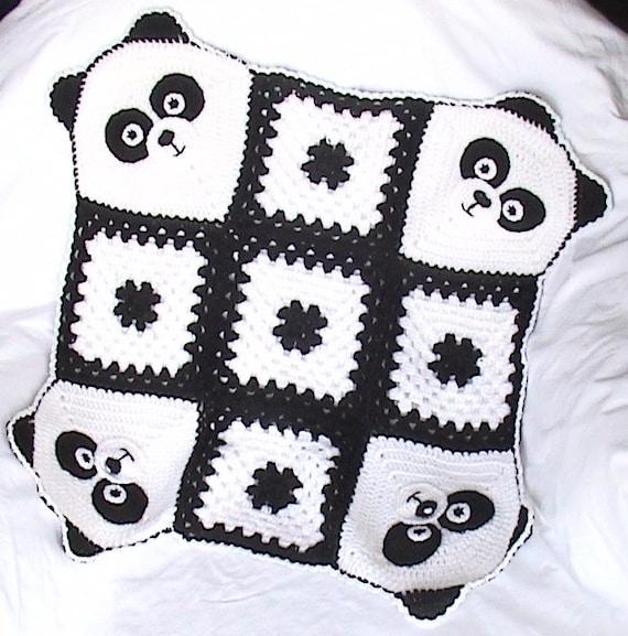 Ganchillo manta de Panda manta del bebé del ganchillo Panda | Etsy