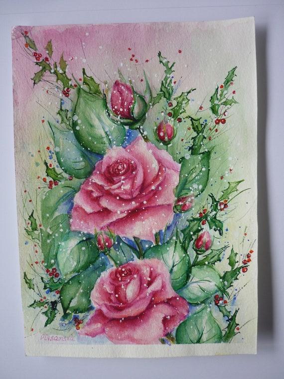Painting Rose Rose Watercolor Pink Rose Aquarelle Flowers Etsy