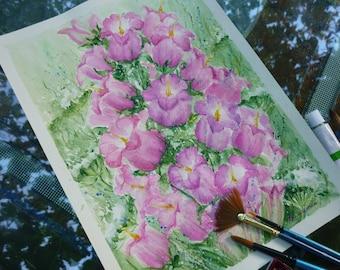 Original Watercolor Painting, Aquarelle, Pink Watercolor flowers, Free shipping, floral art, Art bride gift, watercolor art, art womens gift