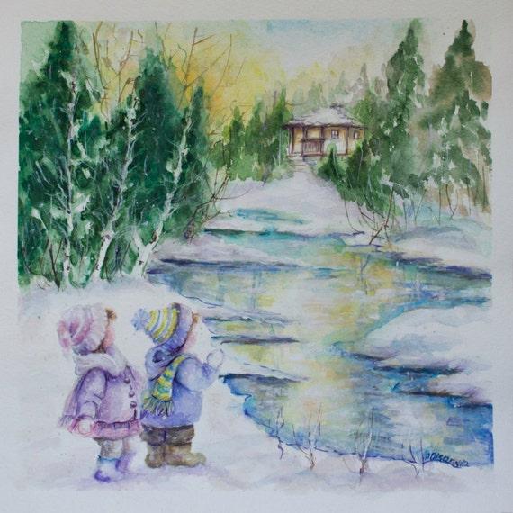 Christmas Paintings For Kids.Christmas Painting Christmas Gift Snow Painting Kids Wall Decor Kid S Painting Christening Gift Baby Art Gift For Brother And Sister