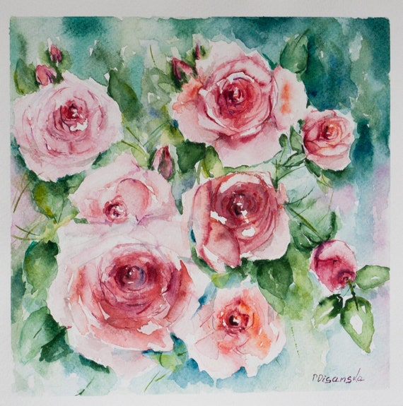 Valentine S Day Art Aquarelle Roses Roses Painting Etsy