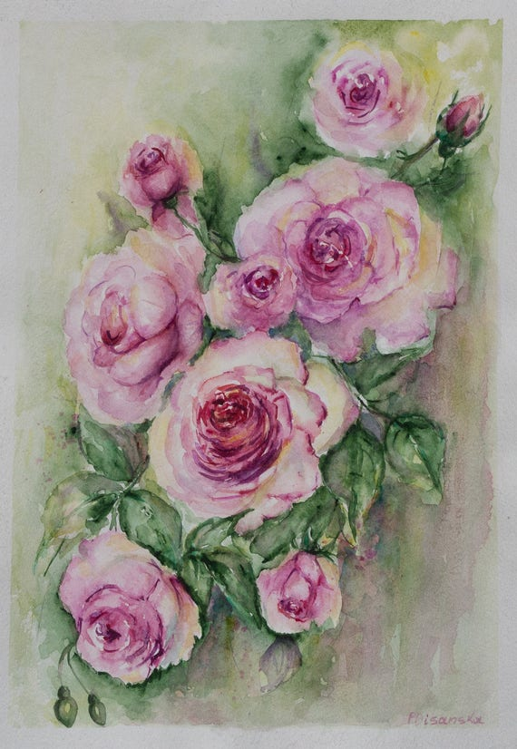 Pink Rose Aquarelle Painting Rose Gifts For Couple Rose Etsy