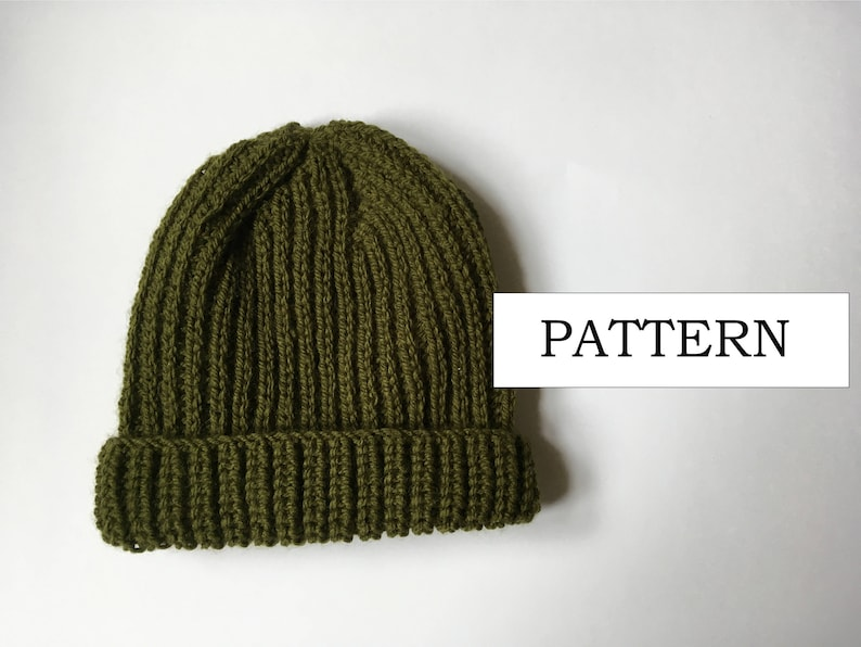 Mock Fisherman S Rib Beanie Knitting Pattern Beginners Etsy