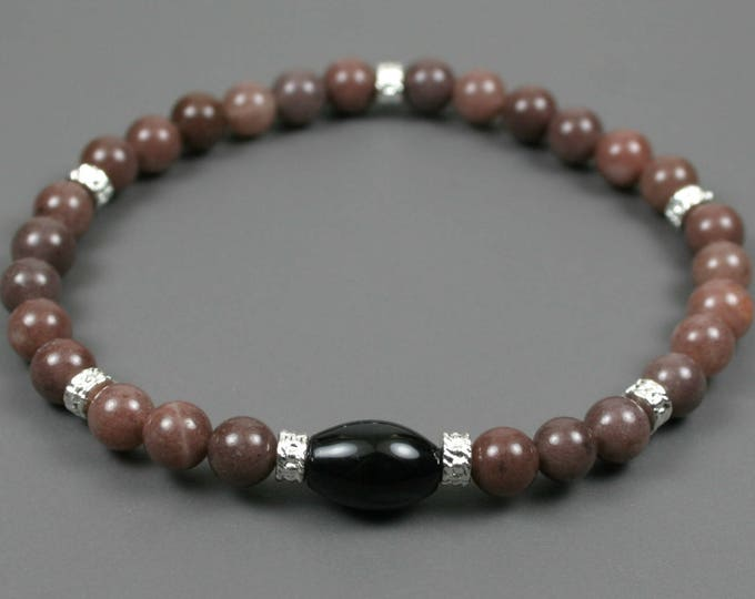 Purple aventurine stacking stretch bracelet with black agate focal and silver plated spacers
