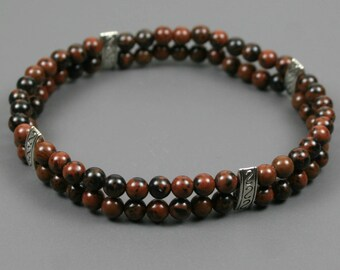 Mahogany obsidian double layer stacking stretch bracelet with silver plated spacer beads
