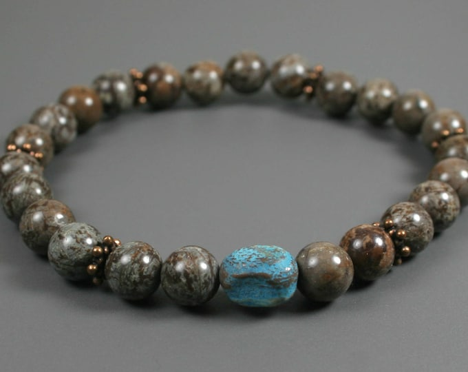 Brown snowflake jasper stacking stretch bracelet with a turquoise dyed quartzite focal and antiqued copper roundels