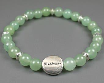 Green aventurine gratitude bead bracelet with pewter gratitude bead, gratitude bracelet, green aventurine stretch bracelet