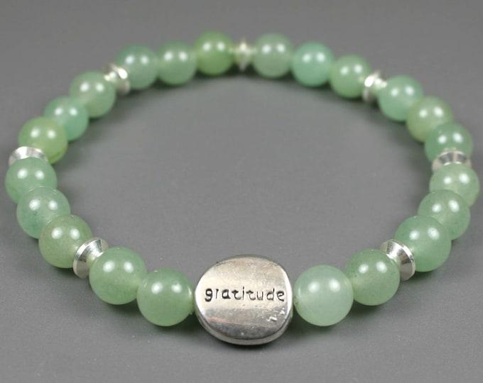 Green aventurine gratitude bead bracelet with pewter gratitude bead