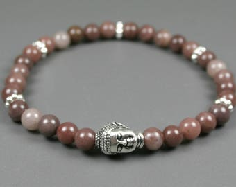 Purple aventurine stacking stretch bracelet with silver plated Buddha head focal bead