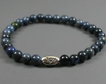 Dumortierite stacking stretch bracelet with an antiqued rhodium plated pewter JOY bead