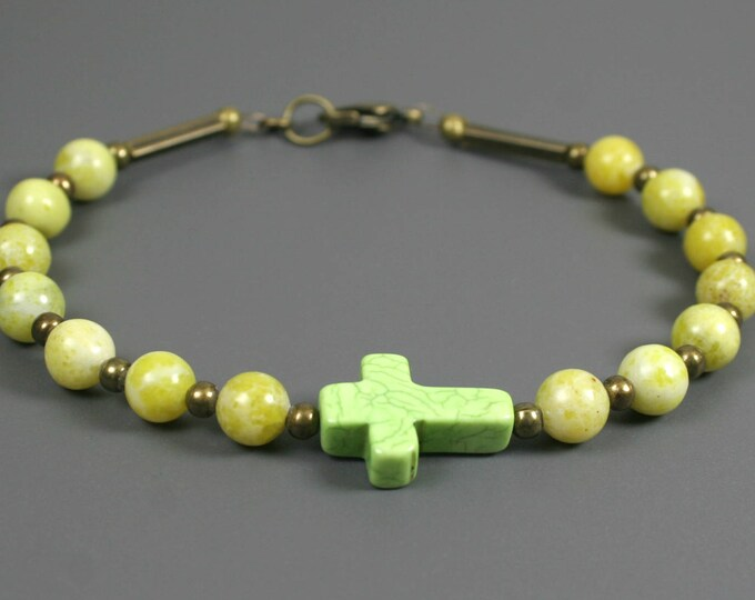 Stone cross bracelet in lime green stone, new olive jade, and antiqued brass