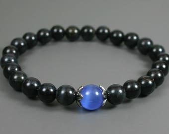 Blue tiger eye stacking stretch bracelet with blue glass cats eye accent, blue tiger eye bracelet, dark blue bracelet