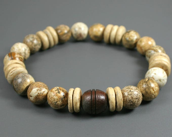 Picture jasper stacking stretch bracelet with carved rosewood focal bead and coconut palm wood roundels