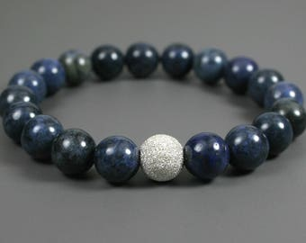 Blue dumortierite stacking stretch bracelet with stardust sterling silver focal bead, dumortierite bracelet, dark blue bracelet