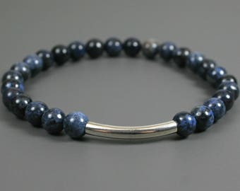 Blue dumortierite stacking stretch bracelet with antique silver plated curved tube accent bead, dumortierite bracelet, dark blue bracelet