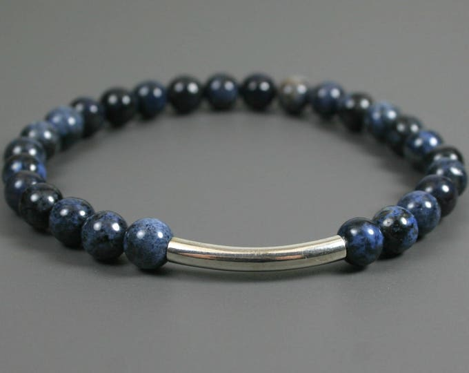 Blue dumortierite stacking stretch bracelet with antique silver plated curved tube accent bead