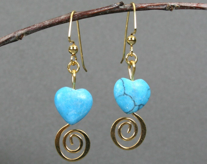 Turquoise magnesite heart earrings with gold plated spirals