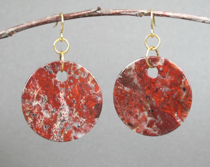 Brecciated jasper round drop earrings on gold plated ear wires