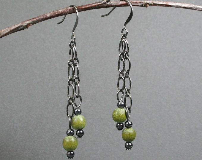 Olive green wood and gunmetal dangle earrings