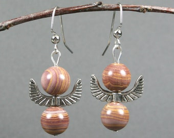 Autumn hickoryite and antiqued silver angel wings on silver plated ear wires