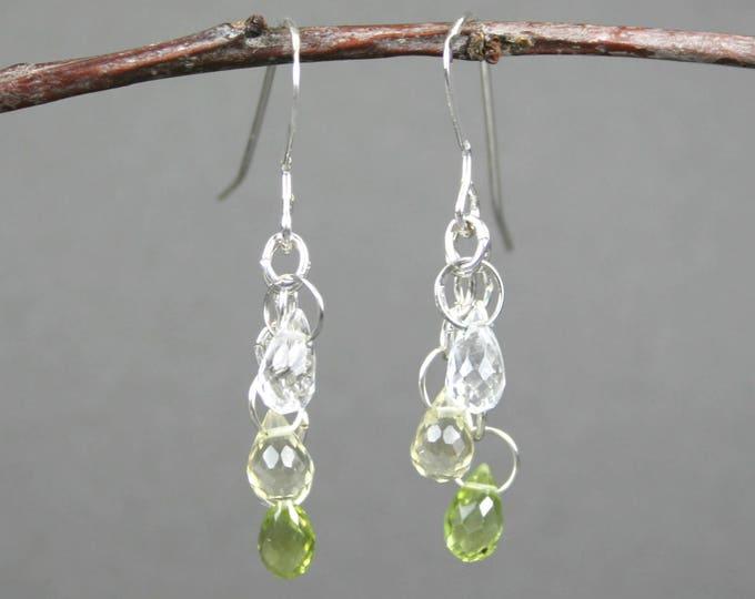 Peridot, lemon quartz, and crystal quartz stone briolettes in sterling silver dangle earrings