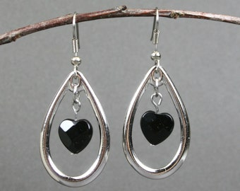 Rhodium plated open teardrop earrings with faceted black onyx hearts on stainless steel ear wires, heart earrings, black onyx earrings