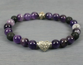 Flower amethyst and black lava stacking stretch bracelet with antiqued silver plated heart accent bead
