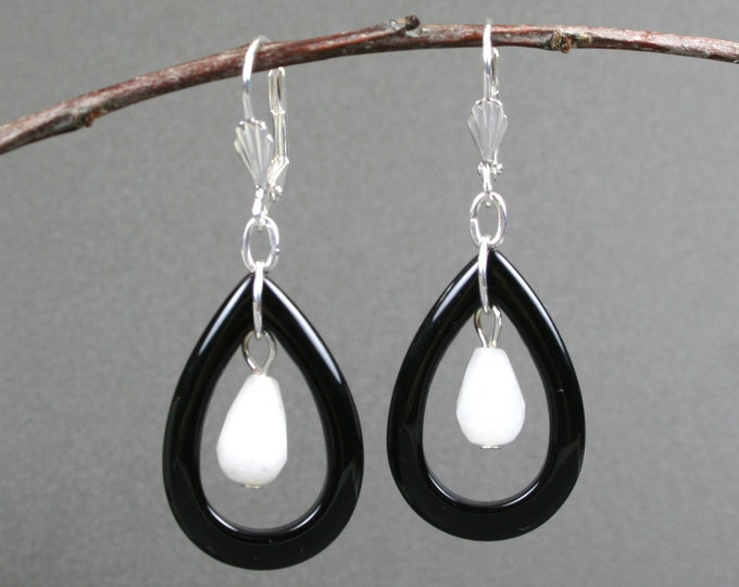 Black onyx open teardrop earrings with snow quartz faceted teardrops on silver plated leverback ear wires